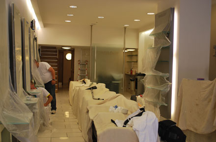 A picture the Detailed Vision team working in Toni-&-Guy hair Salon in Ascot