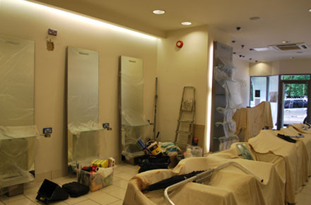 A picture the Detailed Vision team decorating Toni-&-Guy hair Salon in Ascot